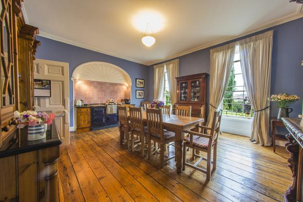 The dining room with an Aga