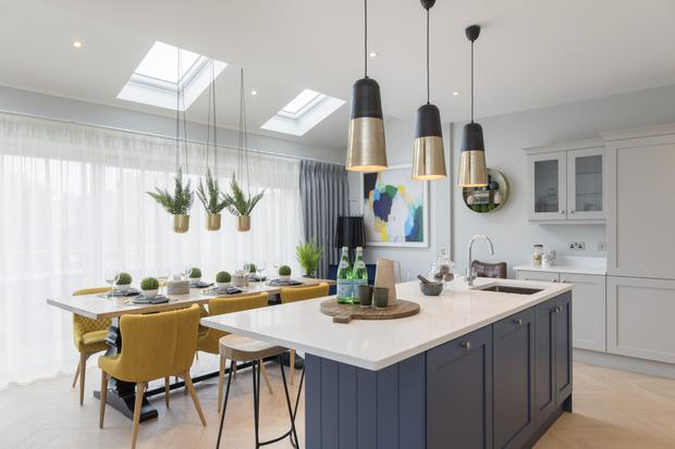 The open-plan kitchen in Harford Green which is supplied by Nolan Kitchens