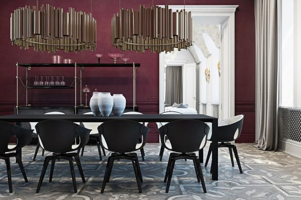 If you choose dramatic burgundy walls in a large room, it's important to balance the look with lighter colours such as creams and whites to avoid a cavernous look; delightfull.eu