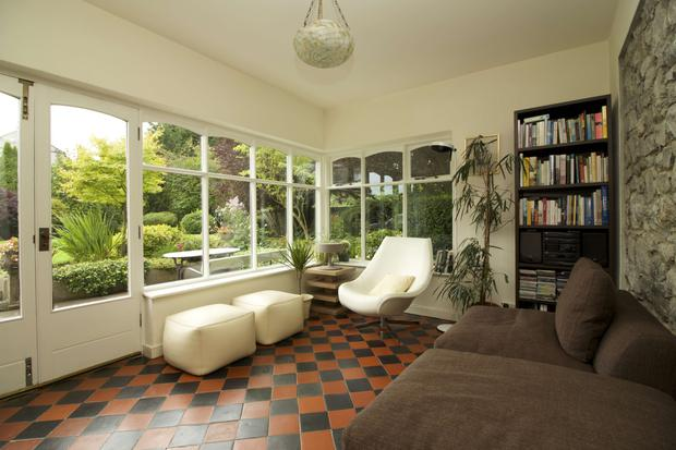 The sunroom with patio doors