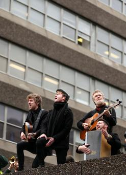 Artists performing to protest against homelessness following last year's occupation of Apollo House in Dublin