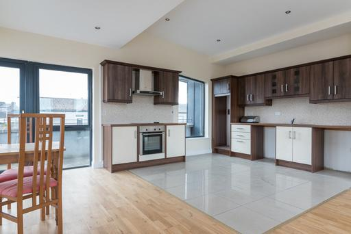 The kitchen/dining space in the apartments