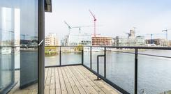 The view of Grand Canal Dock from the apartment - the decking wraps around the property