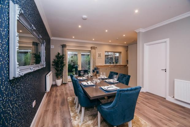 The open-plan kitchen/dining areas are spacious