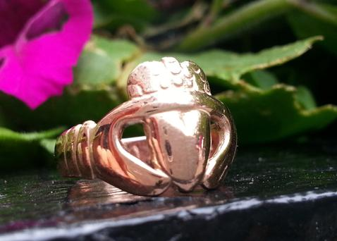 Claddagh ring cast from a 19th century original at Cobwebs in Galway