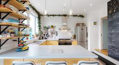 The kitchen in the new single storey extension in the end terrace