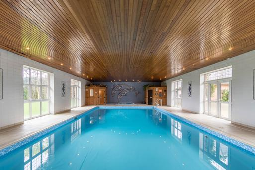 The extensive swimming pool with saunas