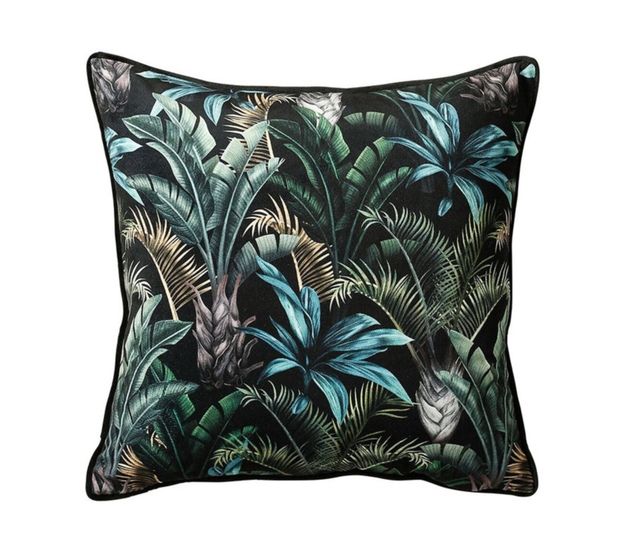 Cushion, €43, Dark botanicals add a lush, dramatic touch to a space, michaelmurphy.ie