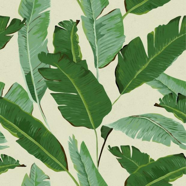 Banana Leaves woven wallpaper, €175, aprilandthebear.com