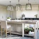 Kitchen island with bespoke weathered solid oak worktop by Andrew Ryan