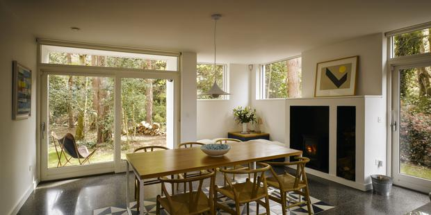 The open-plan kitchen/dining room in Mark Arigho's house in the woods. Photo: Ros Kavanagh