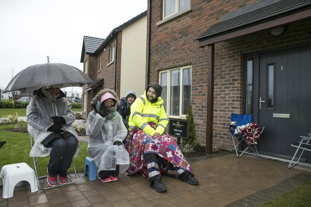 This week's queue at Hansfield in D15 complete with foldables and blankies. Photo: Kyran O'Brien