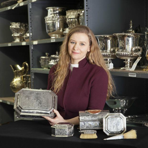 Natalie Voorheis junior specialist in Decorative Arts with Christie's shows the collection