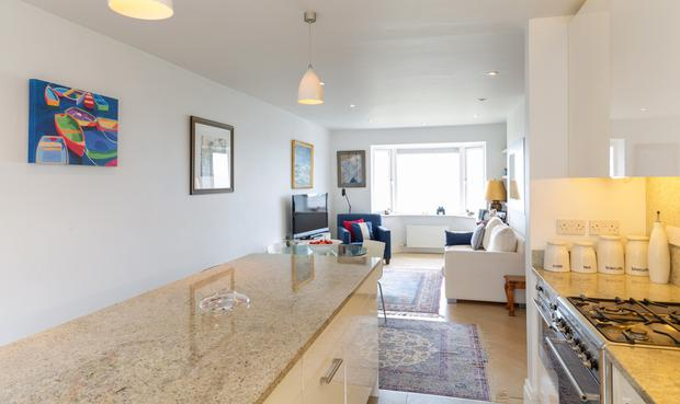The open-plan kitchen, living, dining room