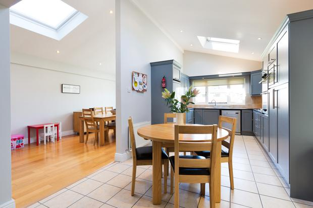 The open-plan dining room and kitchen