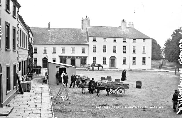 The market square at Mountmellick pictured in the 1890s when its commercial function was the lifeblood of the town