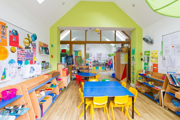 The Montessori school is bright and airy
