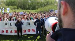 Raising the roof: NUIG students protesting against the steep 18pc increases in purpose-built accommodation costs on campus, which they describe as a