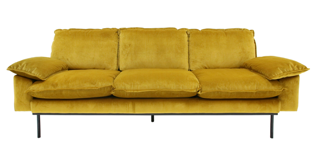 Ochre velvet sofa, €1,600: A warm, honeyed hue that pairs perfectly with mellow 70s interiors, home-lust.com
