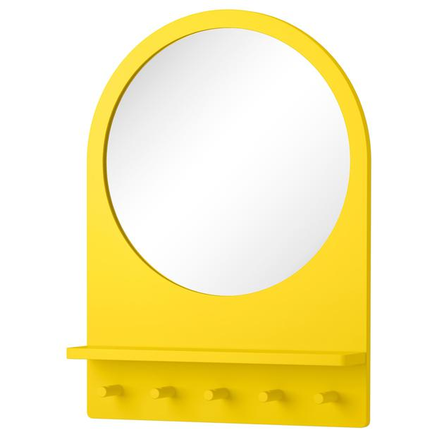 Saltrod mirror, €60: This piece works double duty, brightening up dark spaces with colour and light reflection, ikea.ie