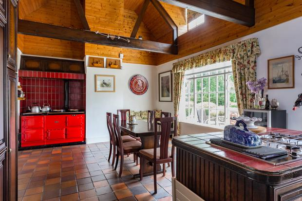 Kitchen with red Aga