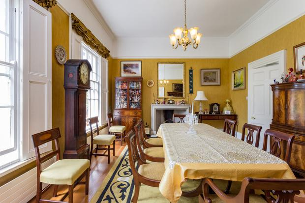 The dining room with its feature fireplace