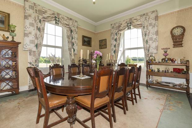 The dining room commands views over the surrounding countryside