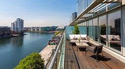 View of Grand Canal Dock from the front terrace of 65 The Waterfront