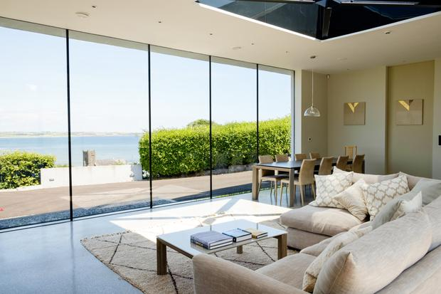 One of the reception rooms with views of the bay