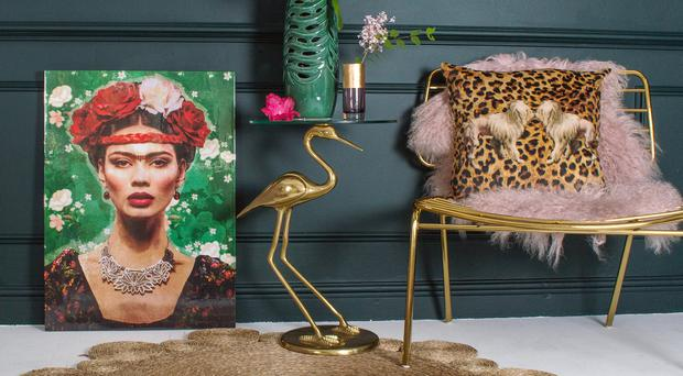 Make it Mexican with Freid Kahlo print, vase, rug and chair. Photo: Audenza