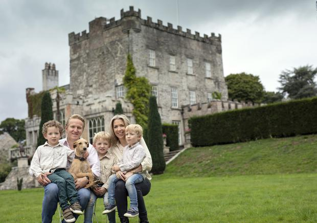 Alexander Durdin Robertson with his wife Clare and their children Herbert (7), Esmonde (6) and Frederick (4), and dog Myrtle, at their home, Huntington Castle in Clonegal, Co Carlow Photo: Fergal Phillips