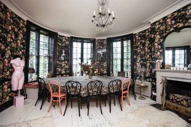 The dining room that doubles as Pearl's office