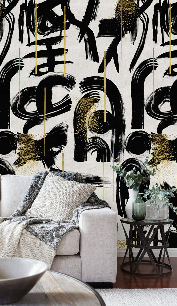 Wallpaper can offer an up-to-date, abstract appeal to the home with patterns like Gestural Abstraction from mindtheg.com