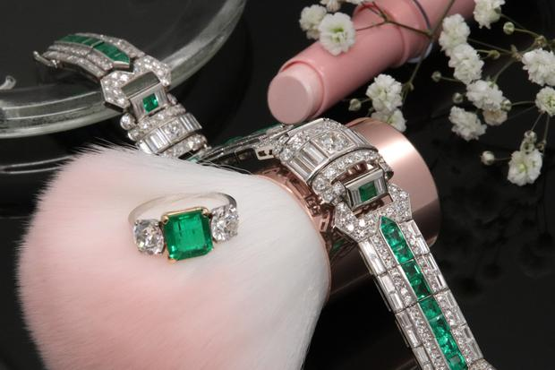 Wow factor: An Art Deco platinum, emerald and diamond bracelet with matching ring
