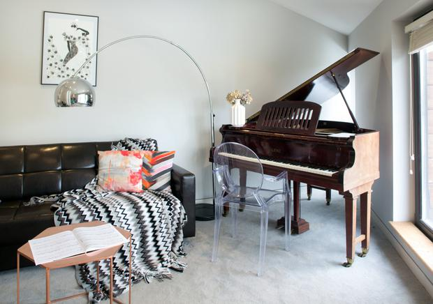 One of the three bedrooms is used as a music room