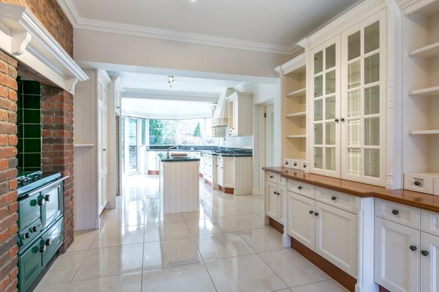 Kitchen with island and Stanley oven