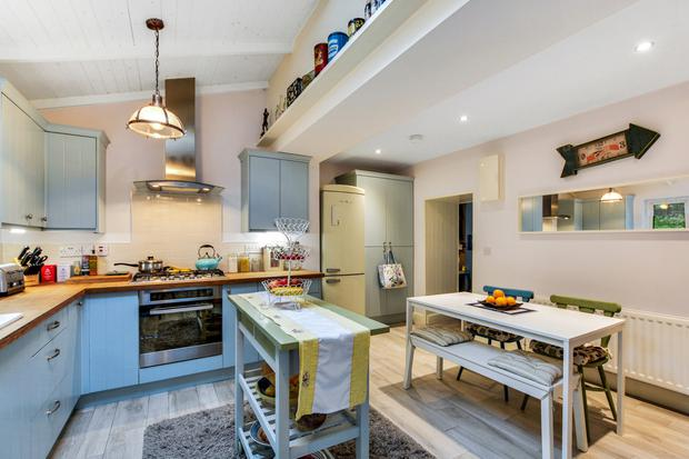 Cordon 'blue': The kitchen units have a painted finish