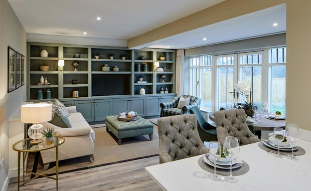 The living area at the three-bed bungalow at Ballinahinch Wood in Ashford, Co Wicklow