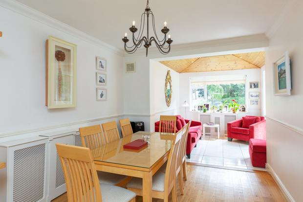 The dining room leads into the sunroom at the refurbished No 68 Wyattville Park