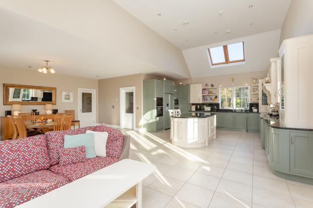 The open-plan kitchen and lounge
