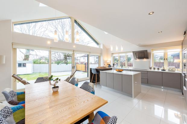 The spacious kitchen and dining room