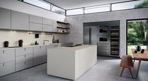 Not just for floors, Caesarstone's Frozen Terra surface mixes translucent aggregate and basalt for a smart, long-lasting look; from €480 psqm, caesarstone.co.uk