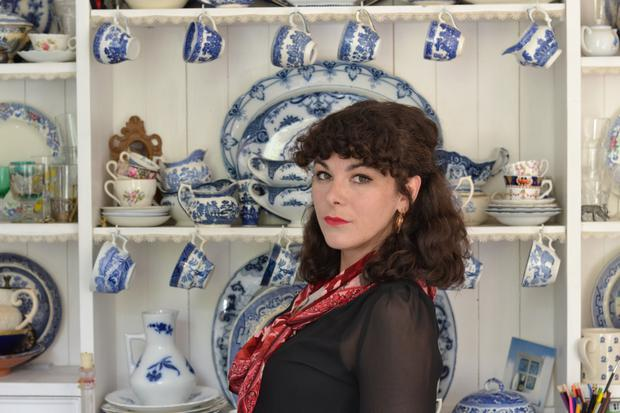 Enthusiastic: Antiques dealer Chantal Fortune with her collection of Arklow Potter which, will displayed on her kitchen dresser, is in use every day