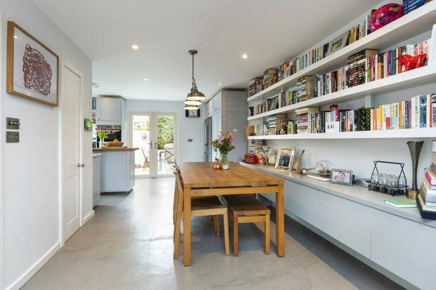 The polished concrete floor in the open-plan living room, dining and kitchen at 15 Ingram Road
