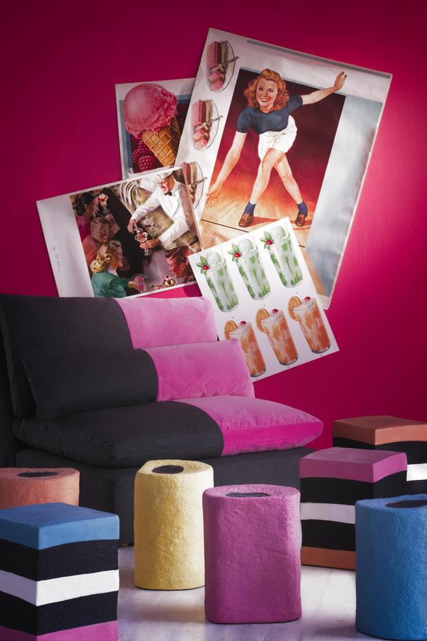 Armless Volcano Section Sofa with Fuchsia Fizz, from £1,995; Pick 'n' Mix Stools Collection, £195 each, andrewmartin.co.uk