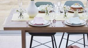 Spring pastels play perfectly for an Easter-themed table setting. Think soft yellows, pink and blue. Mixing and matching napkins is a trick to try to distract from plain white plates. Assorted napkins, €12 for four, johnlewis.com