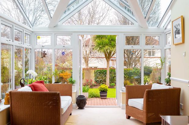The sunroom at the back of the house