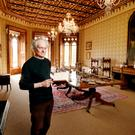 Architectural historian Peter Pearson in the dining room at Johnstown Castle, Co Wexford. The painting over the sideboard is by ET Parris and shows Hamilton Knox Grogan-Morgan, his wife Sophia and daughter. Much of the contents were sourced from auction houses or from the original auction of house contents in 1944