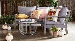 Mimic the soft shades of the season's interiors; pastels and botanical prints work just as well outside; all at Marks & Spencer