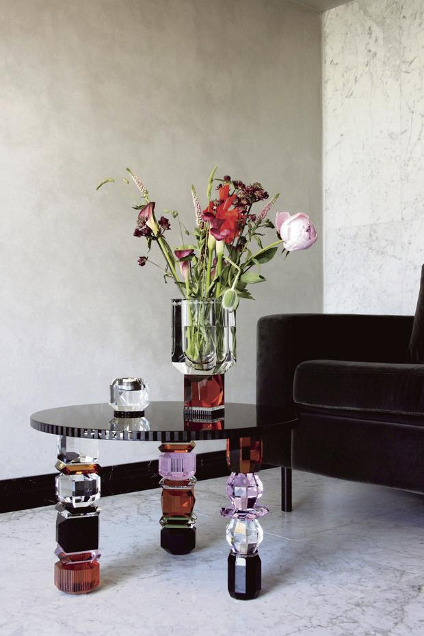 Utterly lust-worthy pieces with all the right refractory qualities, Orlando table, €2,805, and Ohio vase, €485; reflections-copenhagen.compenhagen.com